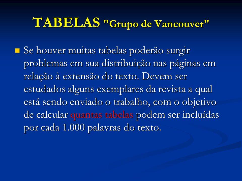 TABELAS Grupo de Vancouver Se houver muitas tabelas poderão surgir problemas em sua distribuição nas páginas em relação à extensão do texto.