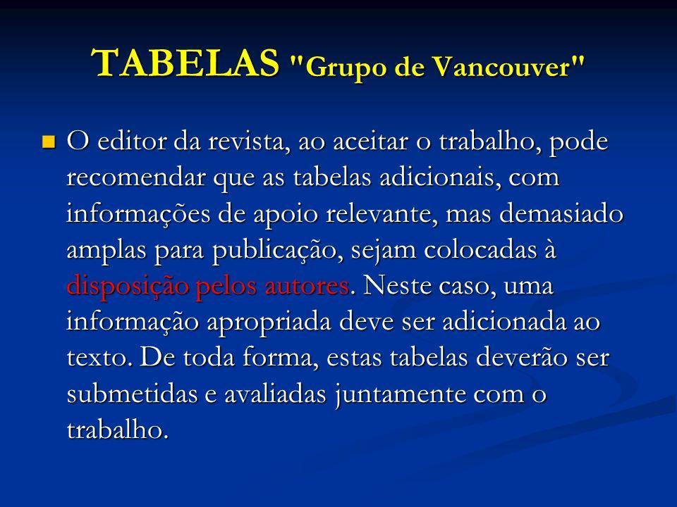 TABELAS Grupo de Vancouver O editor da revista, ao aceitar o trabalho, pode recomendar que as tabelas adicionais, com informações de apoio relevante, mas demasiado amplas para publicação, sejam colocadas à disposição pelos autores.