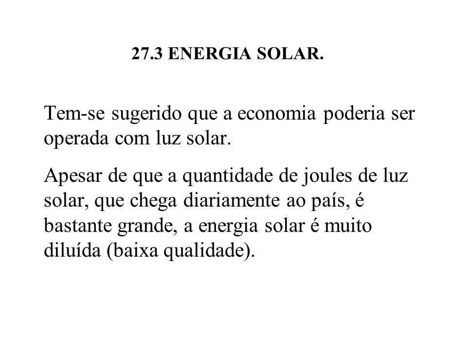 27.3 ENERGIA SOLAR.Tem-se sugerido que a economia poderia ser operada com luz solar.