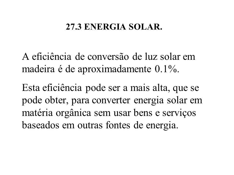 27.3 ENERGIA SOLAR.A eficiência de conversão de luz solar em madeira é de aproximadamente 0.1%.