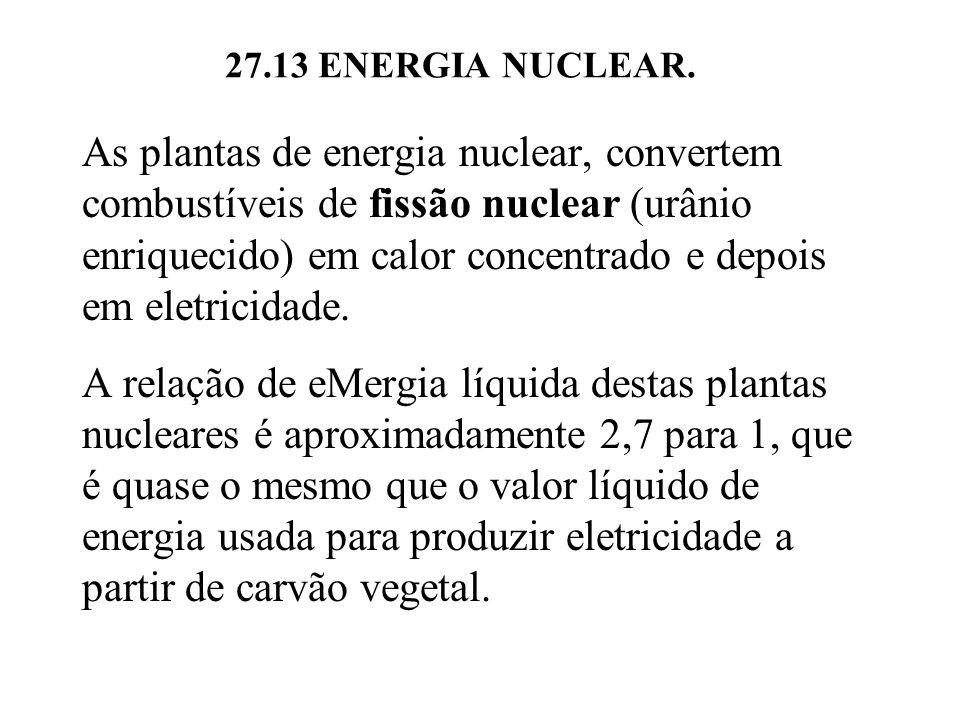 As plantas de energia nuclear, convertem combustíveis de fissão nuclear (urânio enriquecido) em calor concentrado e depois em eletricidade.