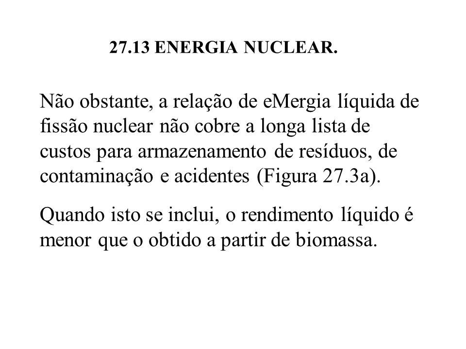 Não obstante, a relação de eMergia líquida de fissão nuclear não cobre a longa lista de custos para armazenamento de resíduos, de contaminação e acidentes (Figura 27.3a).