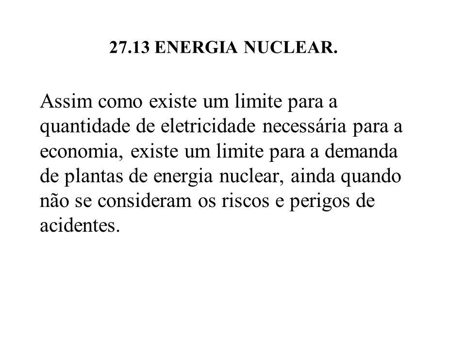 Assim como existe um limite para a quantidade de eletricidade necessária para a economia, existe um limite para a demanda de plantas de energia nuclear, ainda quando não se consideram os riscos e perigos de acidentes.
