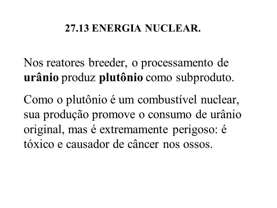 Nos reatores breeder, o processamento de urânio produz plutônio como subproduto.