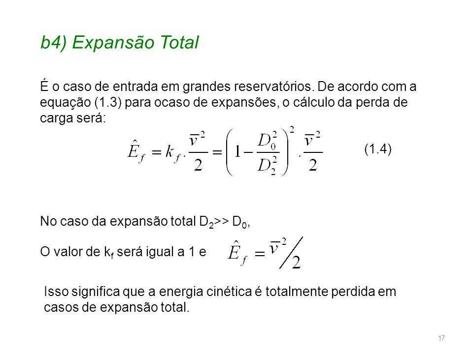 b4) Expansão Total É o caso de entrada em grandes reservatórios. De acordo com a equação (1.3) para ocaso de expansões, o cálculo da perda de carga se