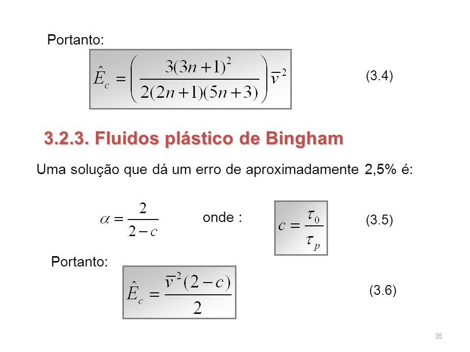 Portanto: (3.4) 3.2.3. Fluidos plástico de Bingham onde : (3.5) Portanto: (3.6) Uma solução que dá um erro de aproximadamente 2,5% é: 35