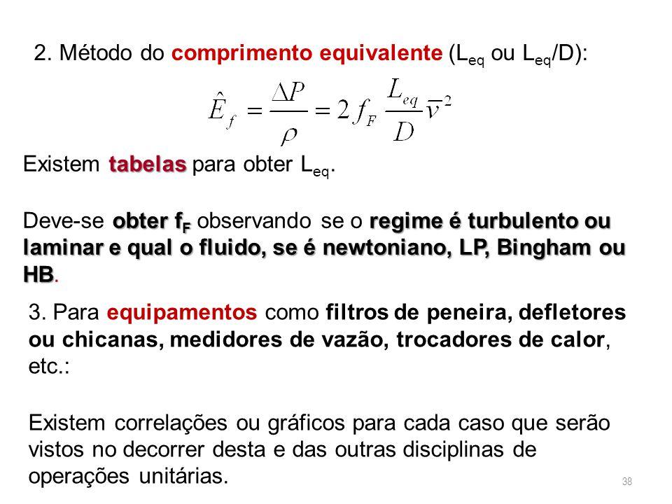 38 2.Método do comprimento equivalente (L eq ou L eq /D): tabelas Existem tabelas para obter L eq. obter f F regime é turbulento ou laminar e qual o f