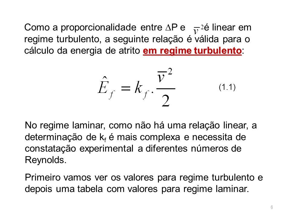 No regime laminar, como não há uma relação linear, a determinação de k f é mais complexa e necessita de constatação experimental a diferentes números