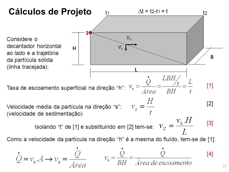 B H L 1 VhVh VsVs Considere o decantador horizontal ao lado e a trajetória da partícula sólida (linha tracejada): Taxa de escoamento superficial na di