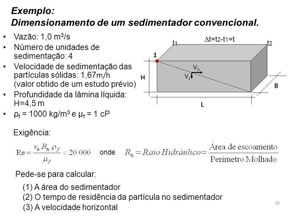 Exemplo: Dimensionamento de um sedimentador convencional. Exigência: (1) A área do sedimentador (2) O tempo de residência da partícula no sedimentador