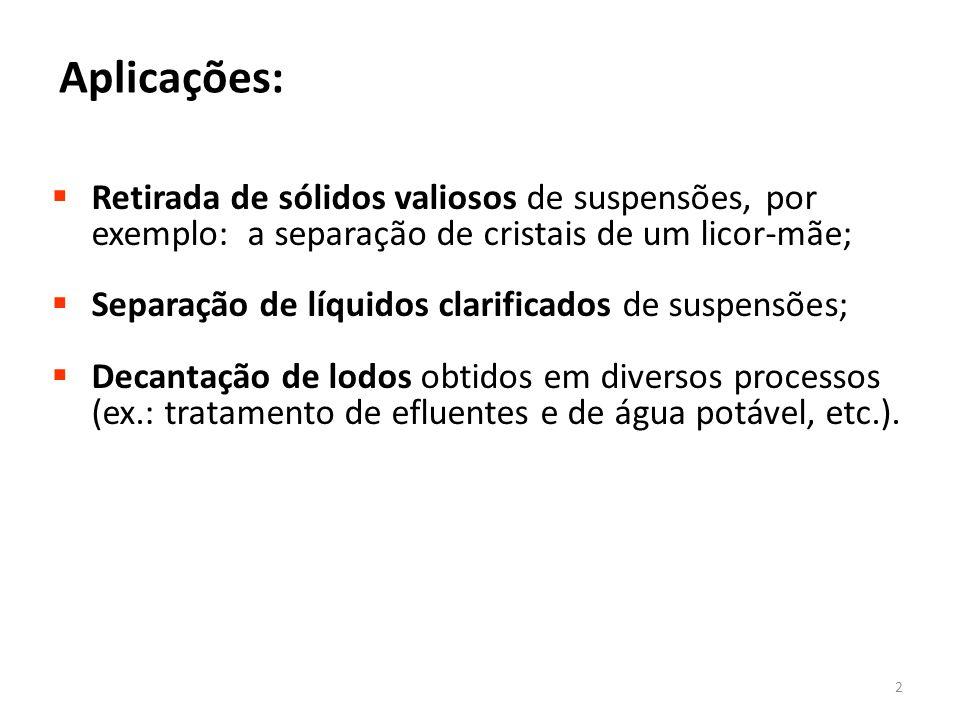  Retirada de sólidos valiosos de suspensões, por exemplo: a separação de cristais de um licor-mãe;  Separação de líquidos clarificados de suspensões