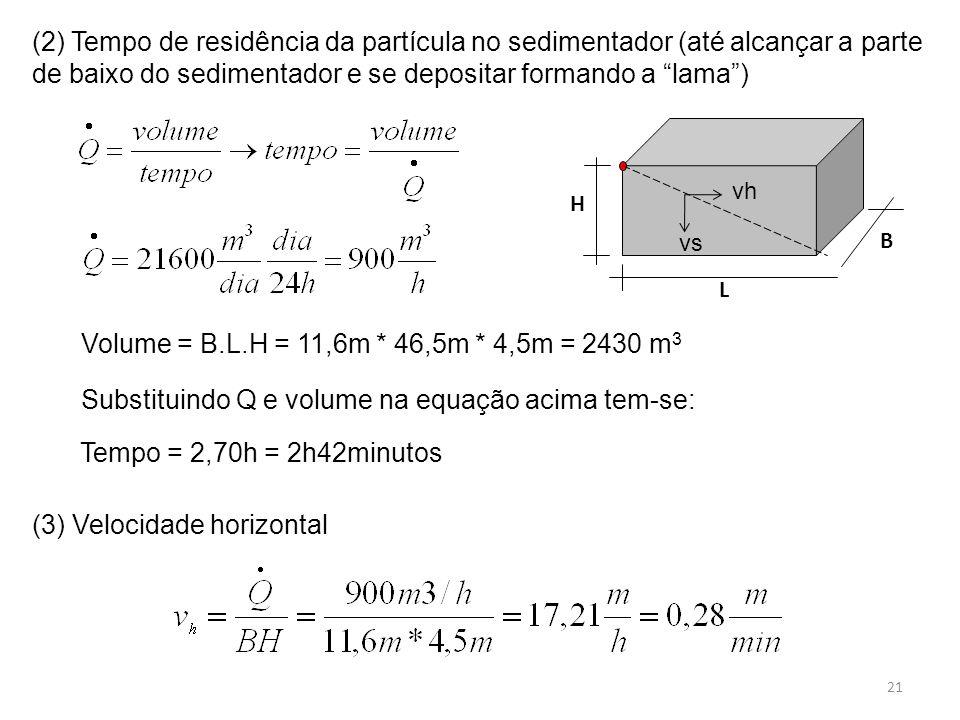 """(2) Tempo de residência da partícula no sedimentador (até alcançar a parte de baixo do sedimentador e se depositar formando a """"lama"""") Volume = B.L.H ="""