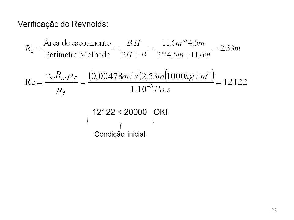 Verificação do Reynolds: 12122 < 20000 OK! Condição inicial 22