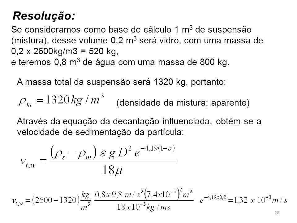 Se consideramos como base de cálculo 1 m 3 de suspensão (mistura), desse volume 0,2 m 3 será vidro, com uma massa de 0,2 x 2600kg/m3 = 520 kg, e terem