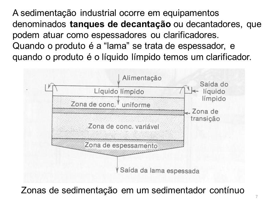 A sedimentação industrial ocorre em equipamentos denominados tanques de decantação ou decantadores, que podem atuar como espessadores ou clarificadore
