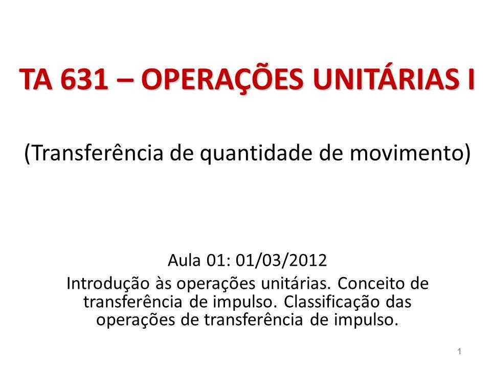 TA 631 – OPERAÇÕES UNITÁRIAS I TA 631 – OPERAÇÕES UNITÁRIAS I (Transferência de quantidade de movimento) Aula 01: 01/03/2012 Introdução às operações u
