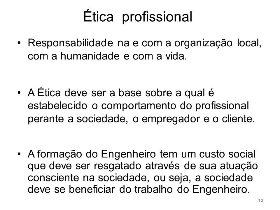 Ética profissional Responsabilidade na e com a organização local, com a humanidade e com a vida. A Ética deve ser a base sobre a qual é estabelecido o