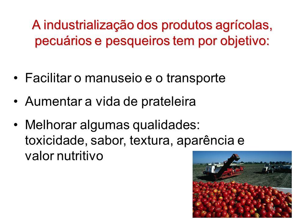 A industrialização dos produtos agrícolas, pecuários e pesqueiros tem por objetivo: Facilitar o manuseio e o transporte Aumentar a vida de prateleira