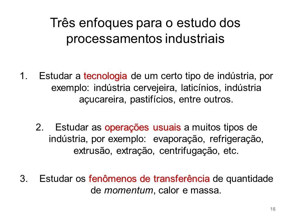 Três enfoques para o estudo dos processamentos industriais tecnologia 1.Estudar a tecnologia de um certo tipo de indústria, por exemplo: indústria cer