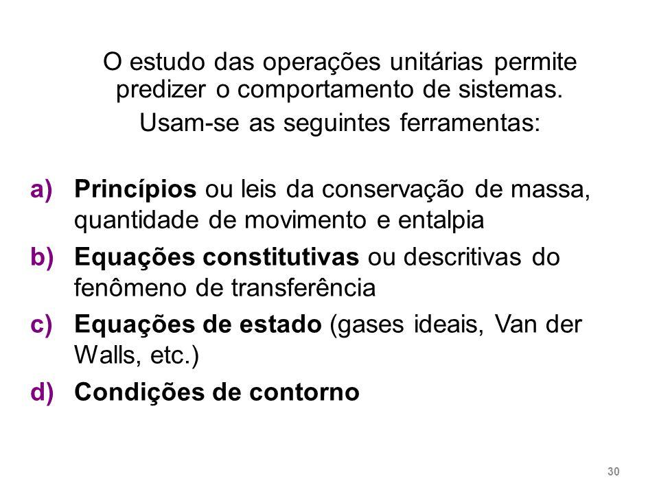 O estudo das operações unitárias permite predizer o comportamento de sistemas. Usam-se as seguintes ferramentas: a)Princípios ou leis da conservação d