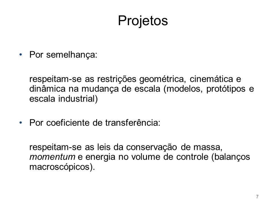 Projetos Por semelhança: respeitam-se as restrições geométrica, cinemática e dinâmica na mudança de escala (modelos, protótipos e escala industrial) P