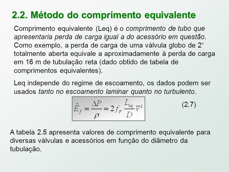 2.2. Método do comprimento equivalente (2.7) A tabela 2.5 apresenta valores de comprimento equivalente para diversas válvulas e acessórios em função d