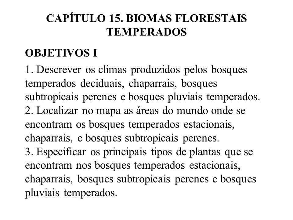 CAPÍTULO 15. BIOMAS FLORESTAIS TEMPERADOS OBJETIVOS I 1. Descrever os climas produzidos pelos bosques temperados deciduais, chaparrais, bosques subtro
