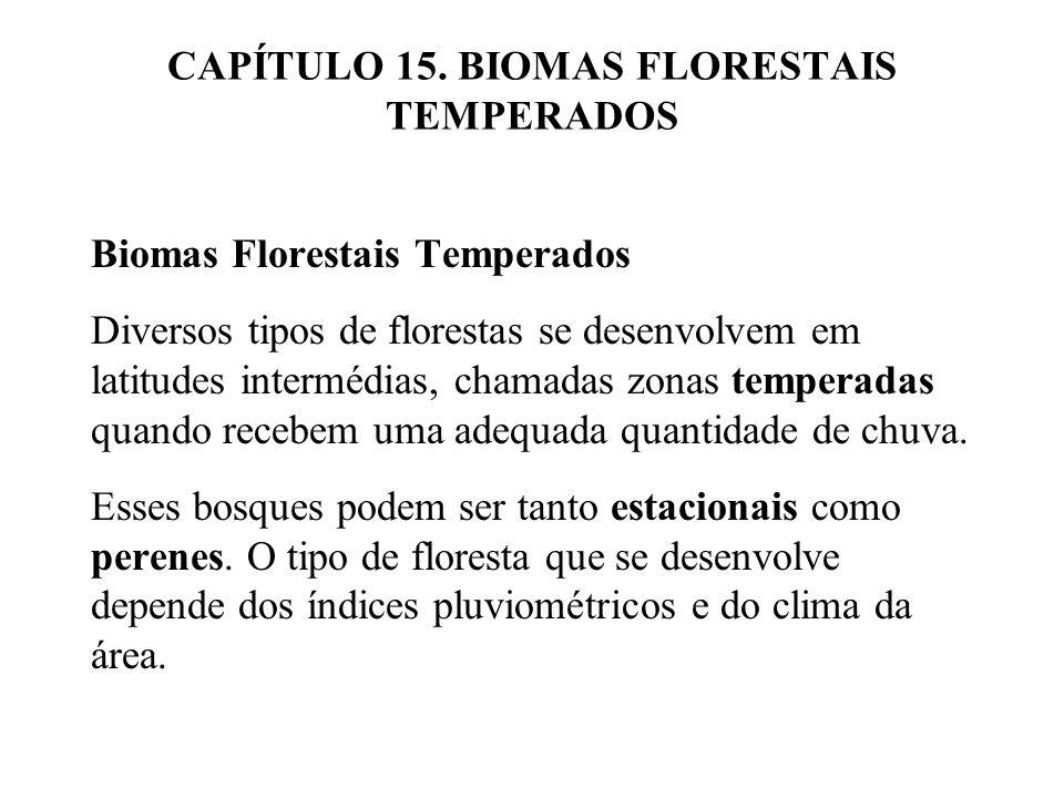 CAPÍTULO 15. BIOMAS FLORESTAIS TEMPERADOS Biomas Florestais Temperados Diversos tipos de florestas se desenvolvem em latitudes intermédias, chamadas z