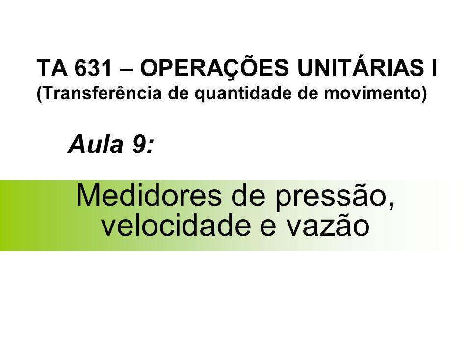 TA 631 – OPERAÇÕES UNITÁRIAS I (Transferência de quantidade de movimento) Medidores de pressão, velocidade e vazão Aula 9: