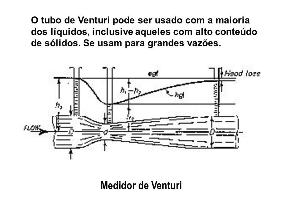 O tubo de Venturi pode ser usado com a maioria dos líquidos, inclusive aqueles com alto conteúdo de sólidos. Se usam para grandes vazões. Medidor de V