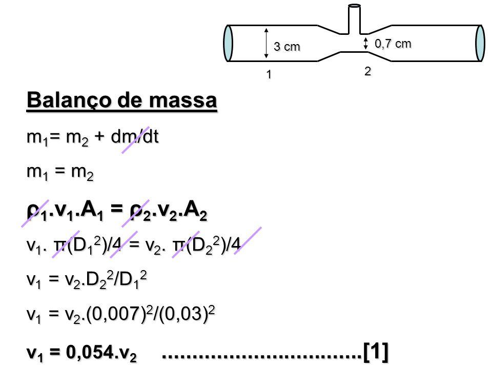 Balanço de massa m 1 = m 2 + dm/dt m 1 = m 2 ρ 1.v 1.A 1 = ρ 2.v 2.A 2 v 1. π(D 1 2 )/4 = v 2. π(D 2 2 )/4 v 1 = v 2.D 2 2 /D 1 2 v 1 = v 2.(0,007) 2