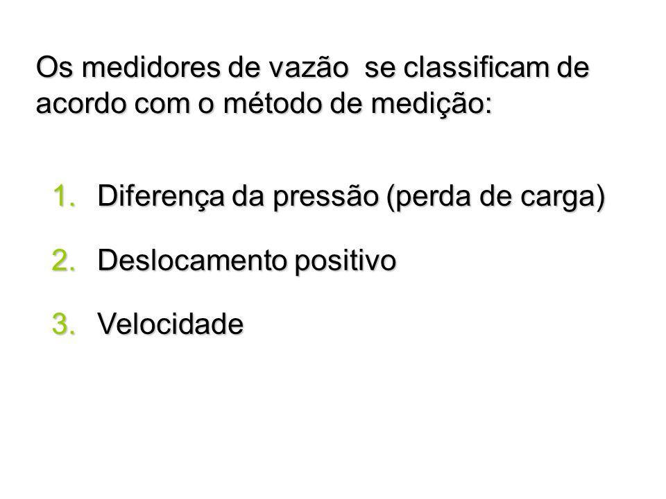 Os medidores de vazão se classificam de acordo com o método de medição: 1. Diferença da pressão (perda de carga) 2. Deslocamento positivo 3. Velocidad