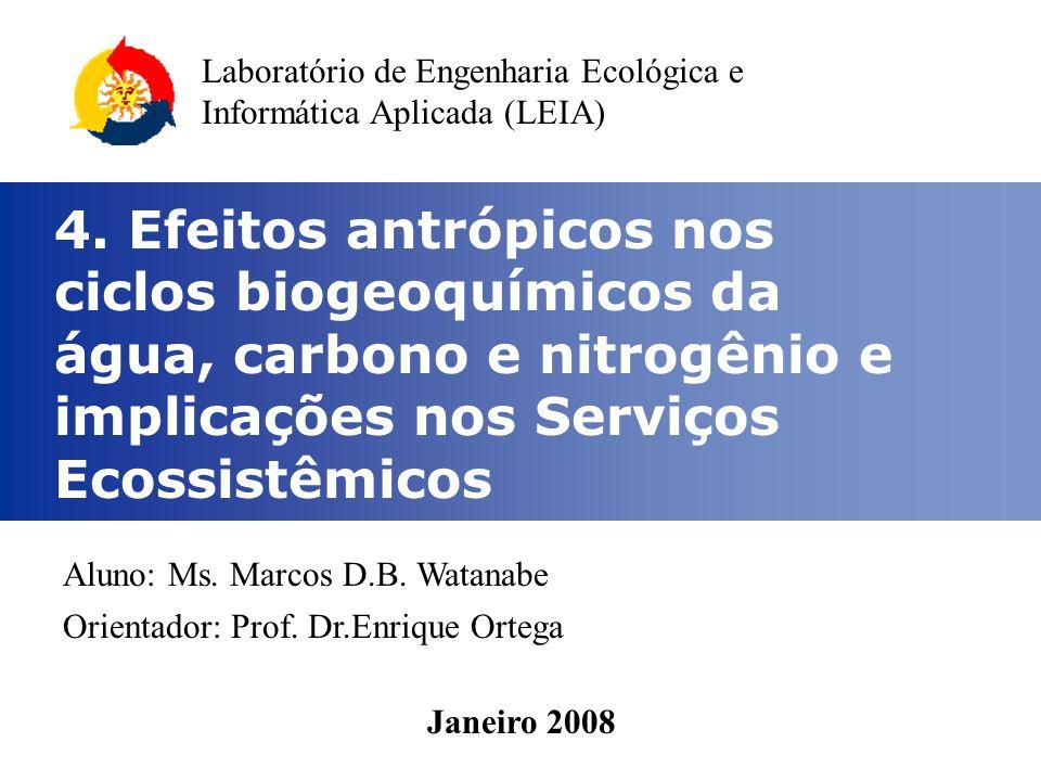 4. Efeitos antrópicos nos ciclos biogeoquímicos da água, carbono e nitrogênio e implicações nos Serviços Ecossistêmicos Aluno: Ms. Marcos D.B. Watanab