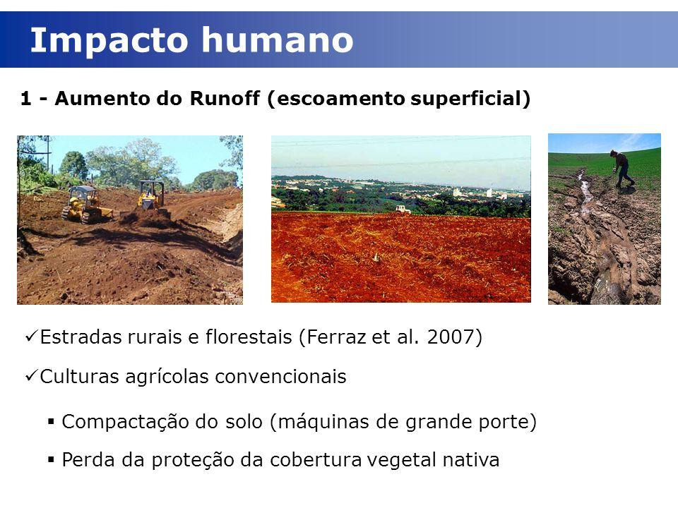 1 - Aumento do Runoff (escoamento superficial) Impacto humano Estradas rurais e florestais (Ferraz et al. 2007) Culturas agrícolas convencionais  Com
