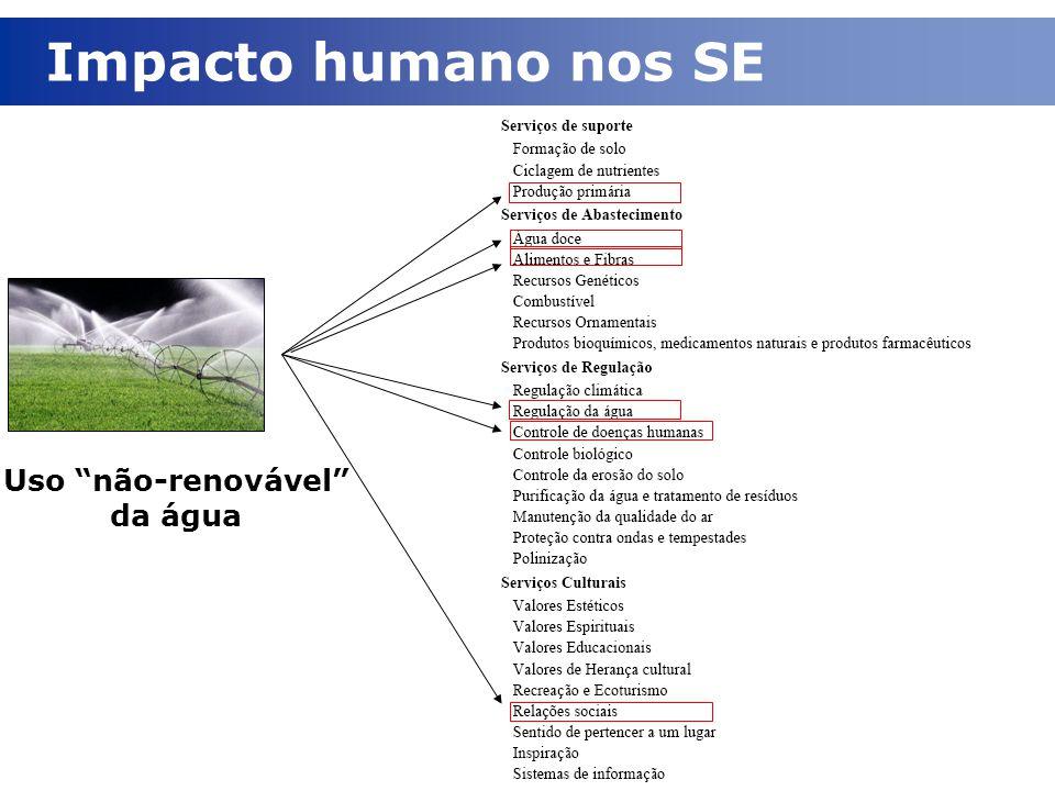 """Uso """"não-renovável"""" da água Impacto humano nos SE"""