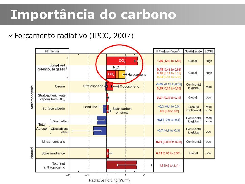 Importância do carbono Forçamento radiativo (IPCC, 2007)