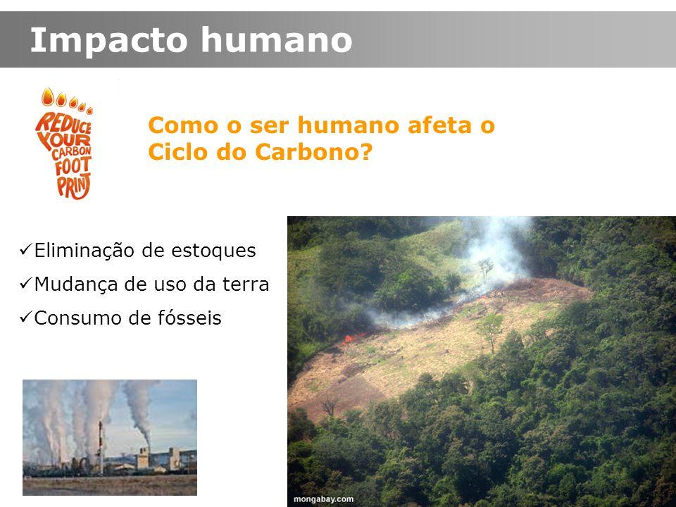 Como o ser humano afeta o Ciclo do Carbono? Impacto humano Mudança de uso da terra Eliminação de estoques Consumo de fósseis