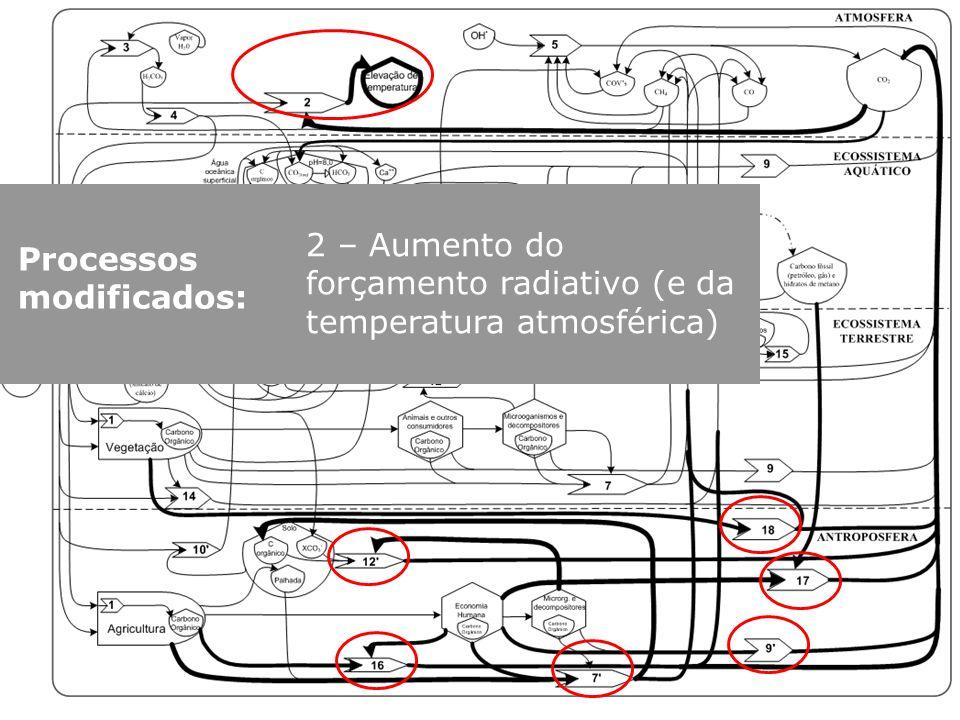 Processos modificados: 7´: Decomposição de resíduos da economia 12- Decomposição de M.O. do solo 9´: Respiração/emissão CO 2 da economia 16- Queima de