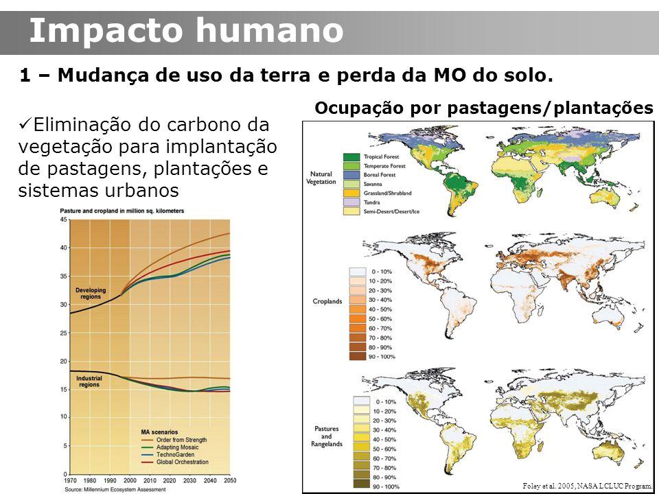 Impacto humano 1 – Mudança de uso da terra e perda da MO do solo. Eliminação do carbono da vegetação para implantação de pastagens, plantações e siste