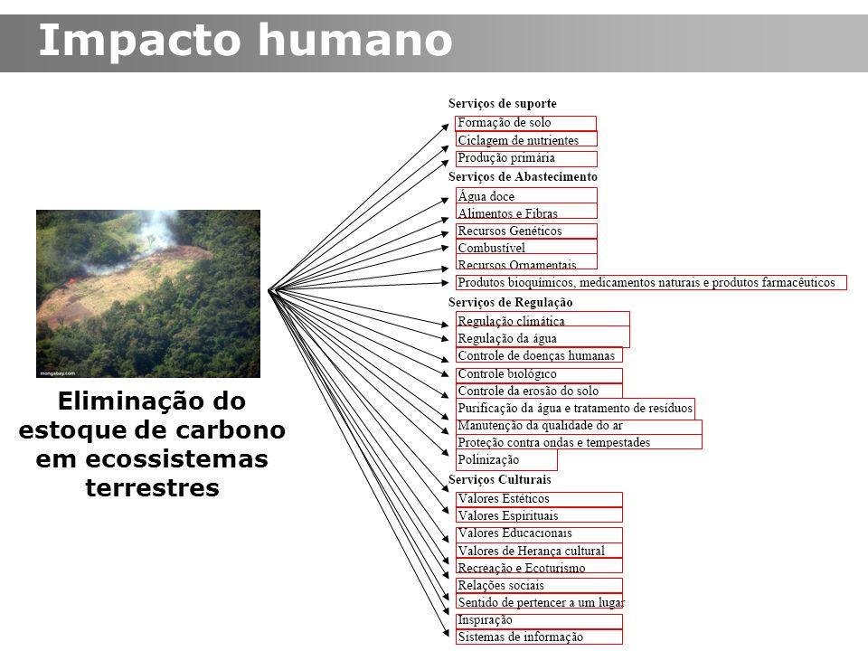 Impacto humano Eliminação do estoque de carbono em ecossistemas terrestres