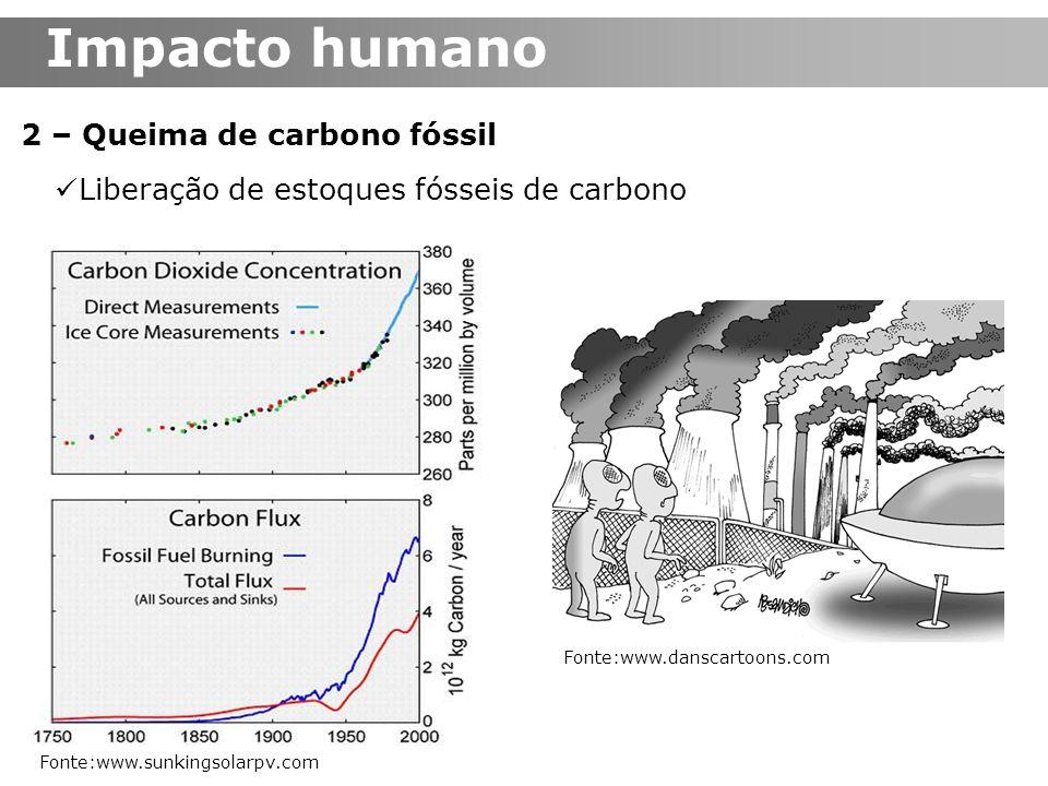 2 – Queima de carbono fóssil Liberação de estoques fósseis de carbono Fonte:www.sunkingsolarpv.com Impacto humano Fonte:www.danscartoons.com