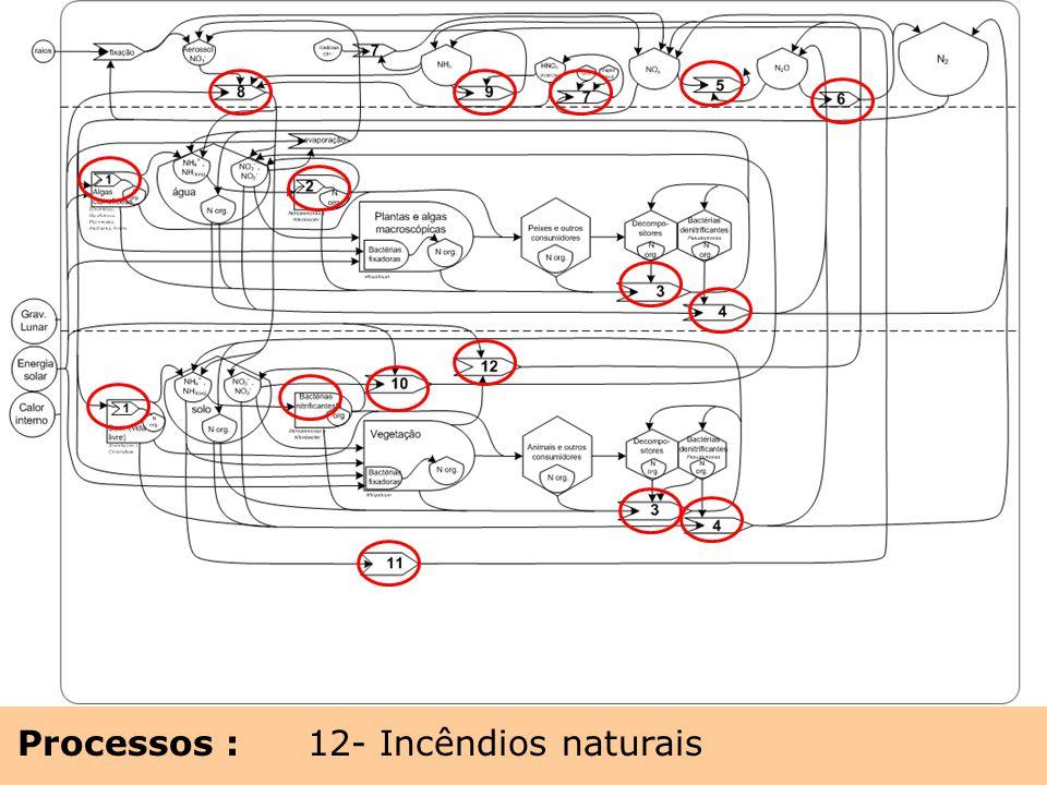 Processos : 1- Fixação biológica de nitrogênio 2- Nitrificação 3- Decomposição 4- Denitrificação 5- Forçamento radiativo 6- Fotólise N2O para N2 7- Fo