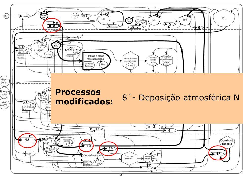 Processos modificados: 13-Fixação Industrial10´- Lixiviação/ Runoff14-Queima de biomassa 15- Queima de comb. fóssil 8´- Deposição atmosférica N