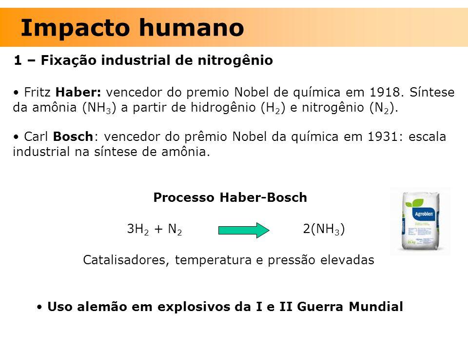 1 – Fixação industrial de nitrogênio Fritz Haber: vencedor do premio Nobel de química em 1918. Síntese da amônia (NH 3 ) a partir de hidrogênio (H 2 )