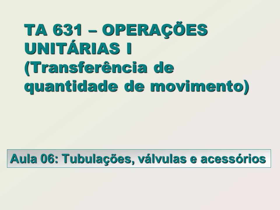 TA 631 – OPERAÇÕES UNITÁRIAS I (Transferência de quantidade de movimento) Aula 06: Tubulações, válvulas e acessórios