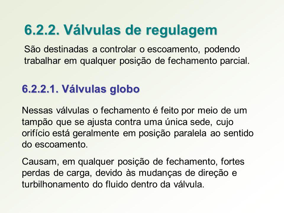 6.2.2. Válvulas de regulagem São destinadas a controlar o escoamento, podendo trabalhar em qualquer posição de fechamento parcial. 6.2.2.1. Válvulas g
