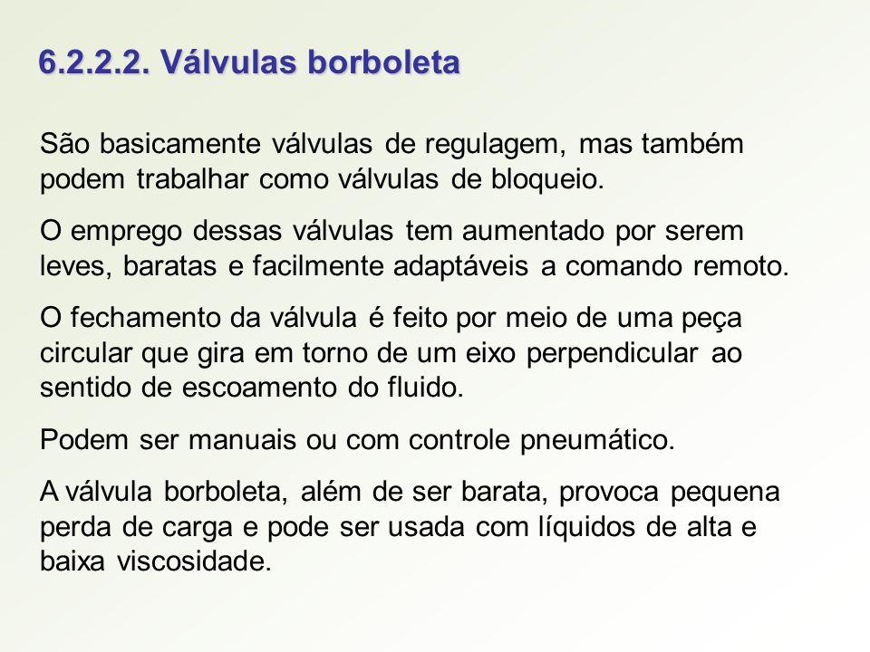 6.2.2.2. Válvulas borboleta São basicamente válvulas de regulagem, mas também podem trabalhar como válvulas de bloqueio. O emprego dessas válvulas tem
