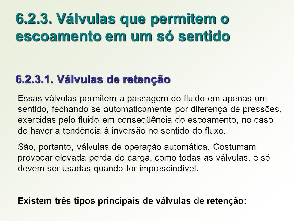 6.2.3. Válvulas que permitem o escoamento em um só sentido 6.2.3.1. Válvulas de retenção Essas válvulas permitem a passagem do fluido em apenas um sen