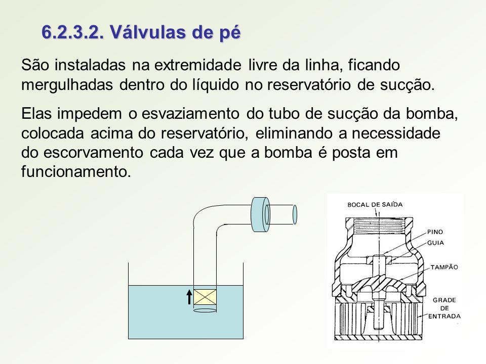 6.2.3.2. Válvulas de pé São instaladas na extremidade livre da linha, ficando mergulhadas dentro do líquido no reservatório de sucção. Elas impedem o