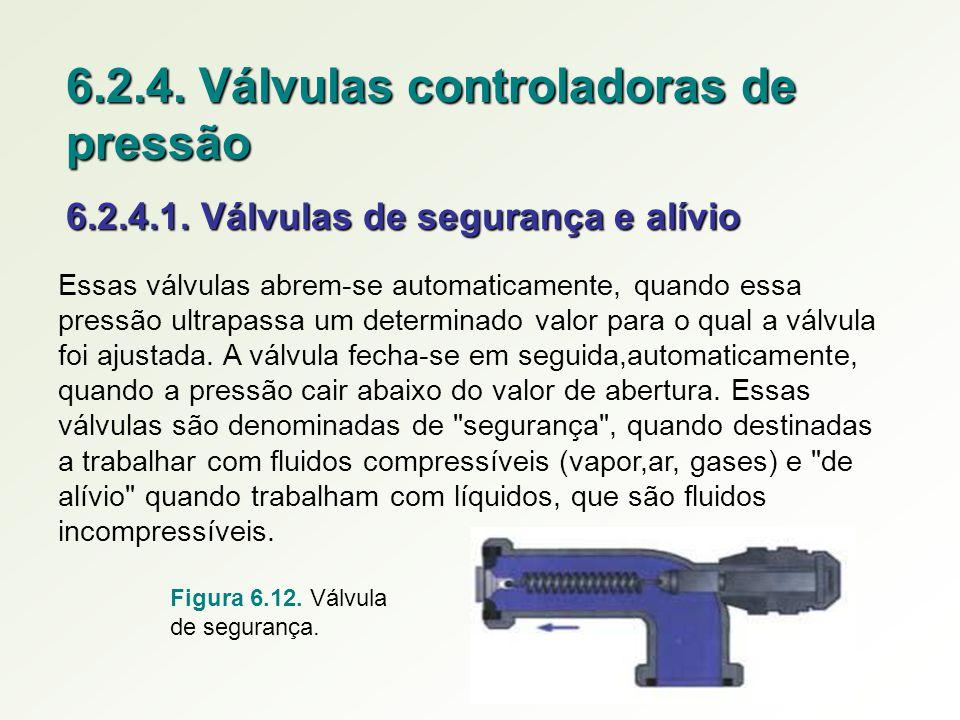 6.2.4. Válvulas controladoras de pressão 6.2.4.1. Válvulas de segurança e alívio Essas válvulas abrem-se automaticamente, quando essa pressão ultrapas